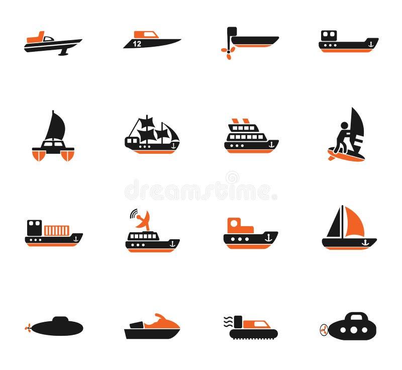 Wodny przewieziony ikona set ilustracja wektor
