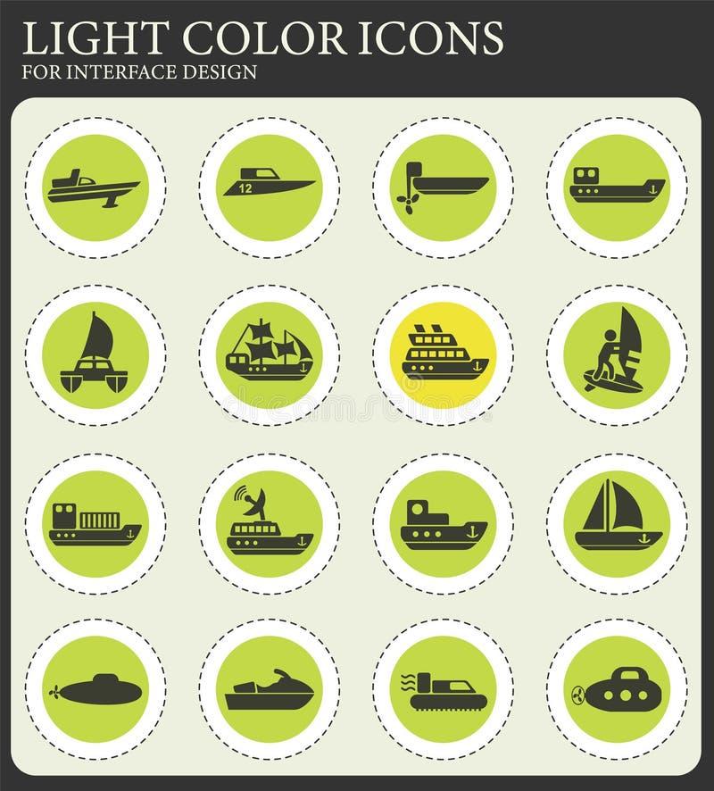 Wodny przewieziony ikona set ilustracji