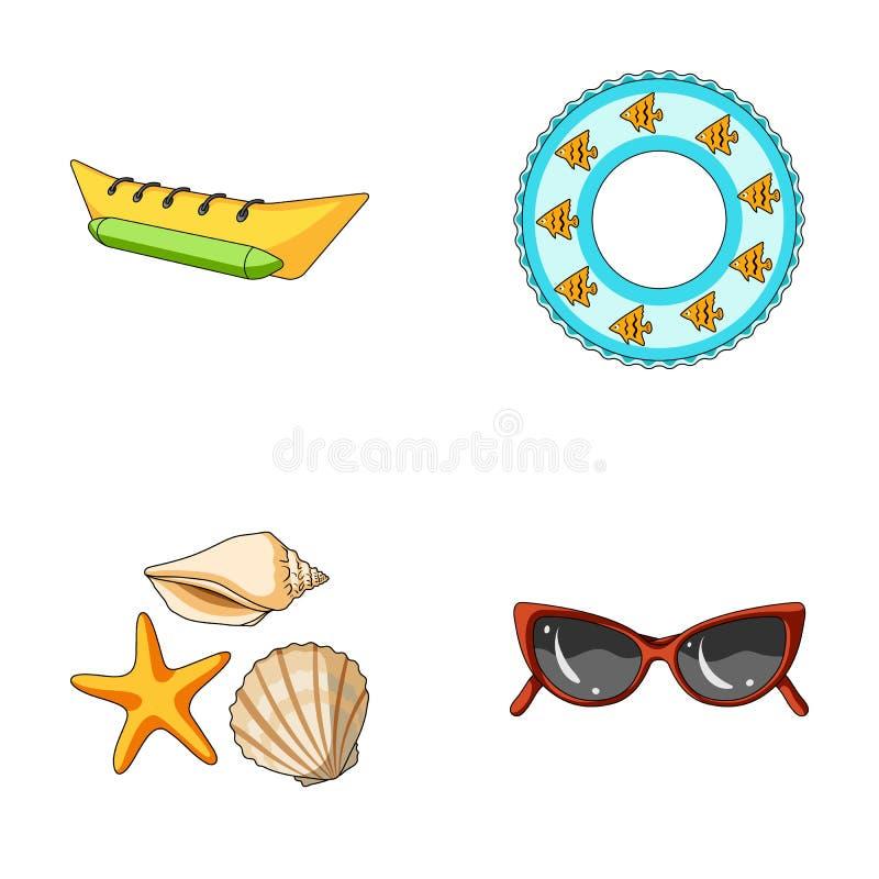 Wodny przyciąganie, seashells, gogle Wakacje ustalone inkasowe ikony w kreskówka stylu symbolu wektorowym zapasie royalty ilustracja