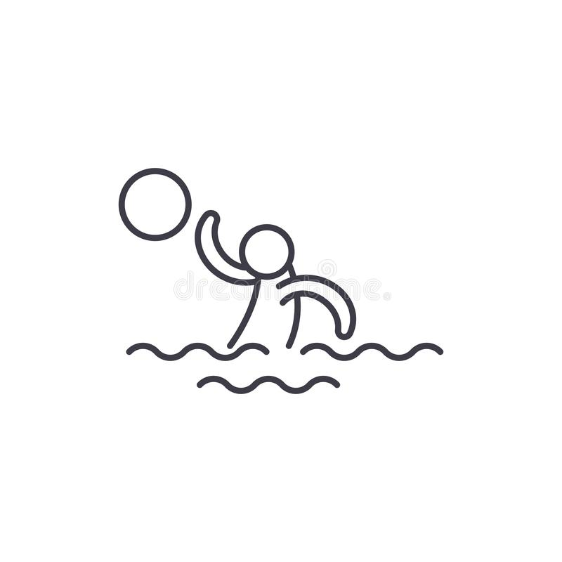 Wodny siatkówki linii ikony pojęcie Wodnej siatkówki wektorowa liniowa ilustracja, symbol, znak royalty ilustracja