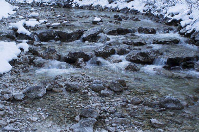 Wodny spływanie puszek rzeczna kaskada na śnieżnym zima dniu obrazy stock