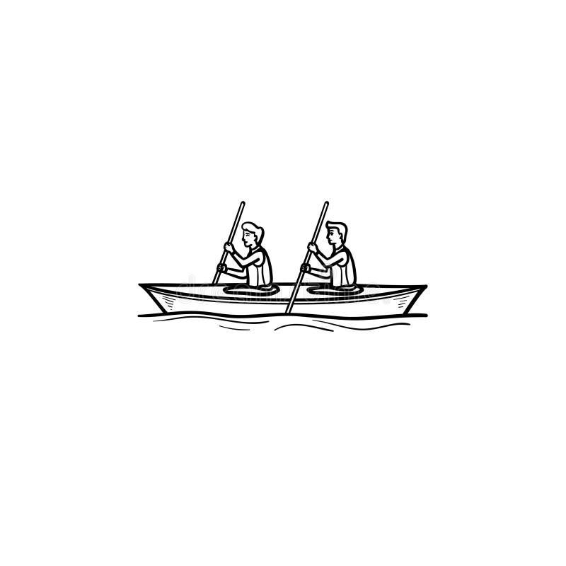 Wodny sport, kajakowa ręka rysująca konturu doodle ikona royalty ilustracja
