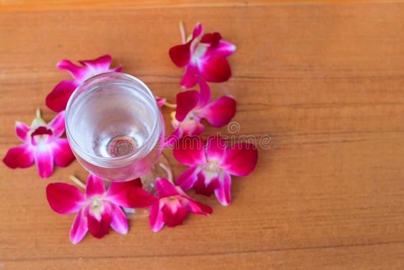 Wodny szkło chłodno z storczykowymi purpurami na drewnianej podłogowej desce z kopii przestrzenią dodaje tekst zdjęcia royalty free