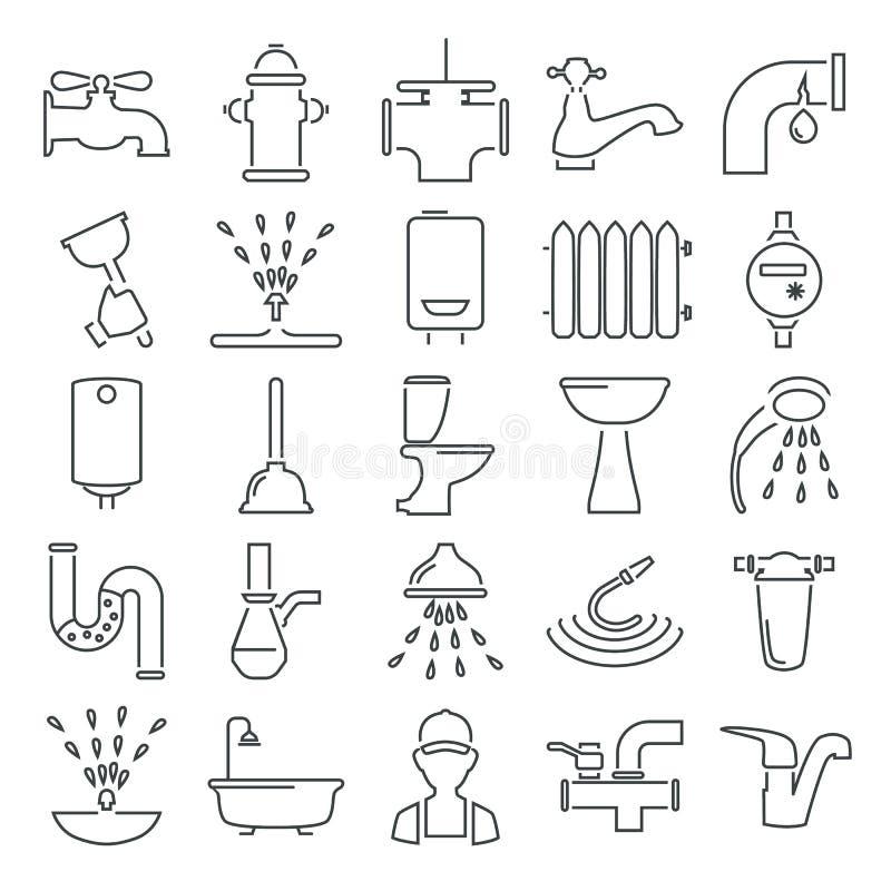 Wodnych drymb kreskowe ikony ustawiać dla sieci i mobilnego projekta ilustracji