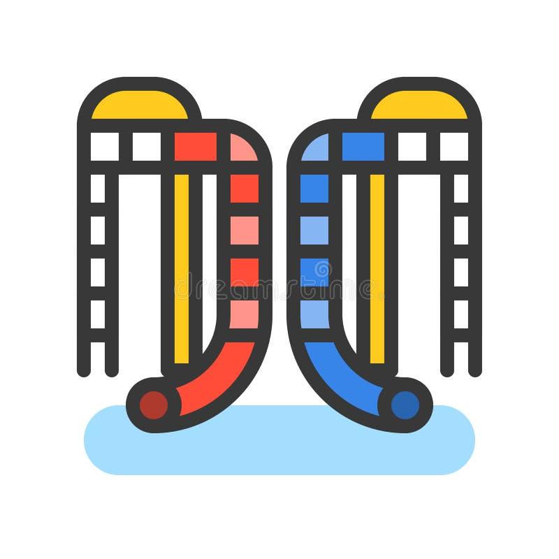 Wodnych obruszeń wektorowa ikona, wypełniający konturu stylu editable uderzenie ilustracja wektor