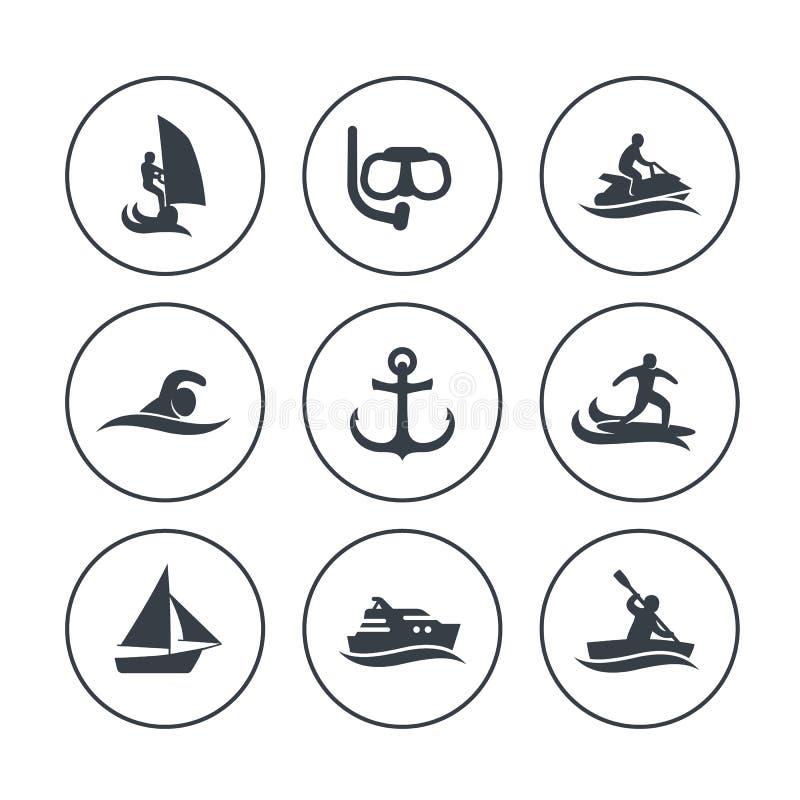 Wodnych sportów ikony, surfing, żeglowanie, nurkuje ilustracji