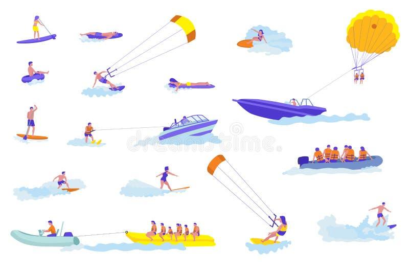 Wodnych sportów kreskówki wektorowe ilustracje ustawiać ilustracja wektor