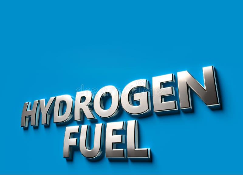 Wodoru paliwa s?owa jako 3D znaka lub logo poj?cie umieszczaj?cy na b??kit powierzchni z kopii przestrzeni? nad ono Nowi wod?r ta royalty ilustracja