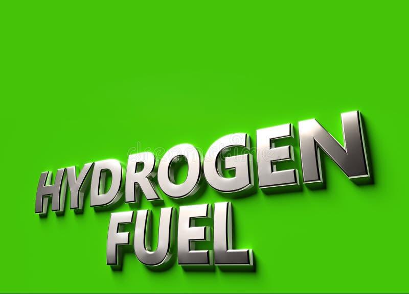Wodoru paliwa s?owa jako 3D znaka lub logo poj?cie umieszczaj?cy na zieleni powierzchni z kopii przestrzeni? nad ono Nowi wod?r t ilustracji