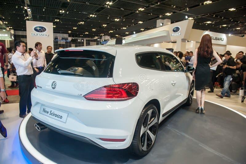 Wodowanie nowy Volkswagen Scirocco przy Singapur Motorshow 2015 zdjęcia royalty free