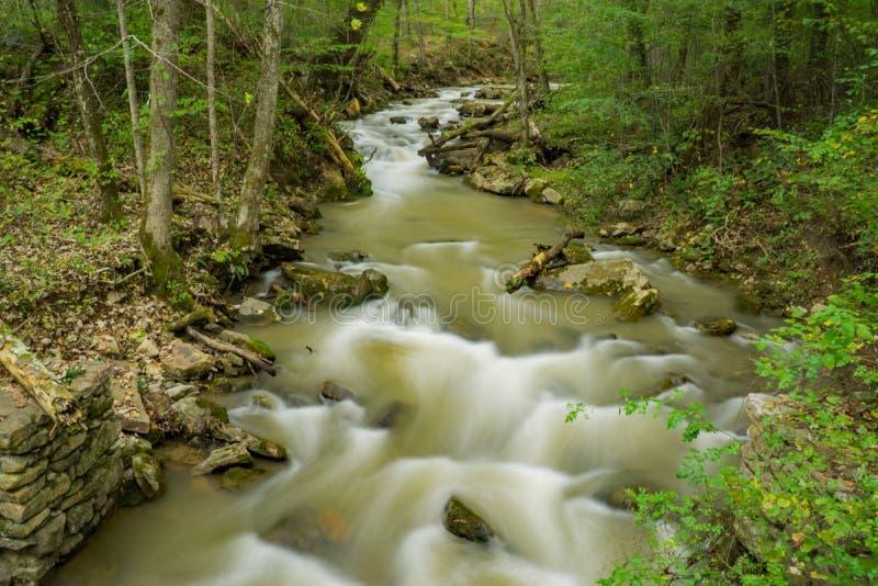 Wody powodziowe przy huczenie bieg zatoczką fotografia stock