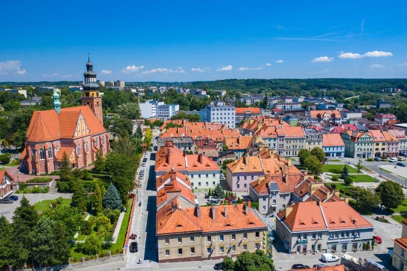 Wodzislaw Slaski. Poland. Aerial view of main square and city center of Wodzislaw Slaski. Upper Silesia. Poland royalty free stock photo
