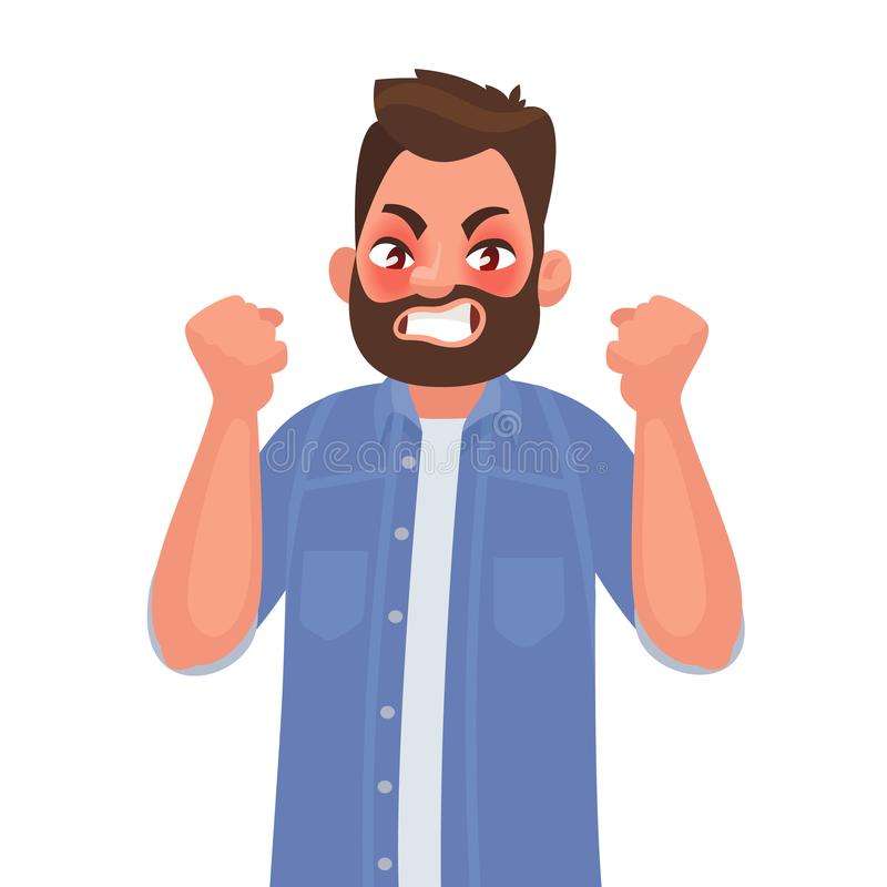 woede De kwade man drukt zijn negatieve emoties uit Vector illustratie stock illustratie