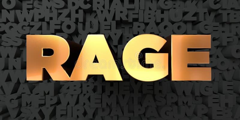 Woede - Gouden tekst op zwarte achtergrond - 3D teruggegeven royalty vrij voorraadbeeld stock illustratie