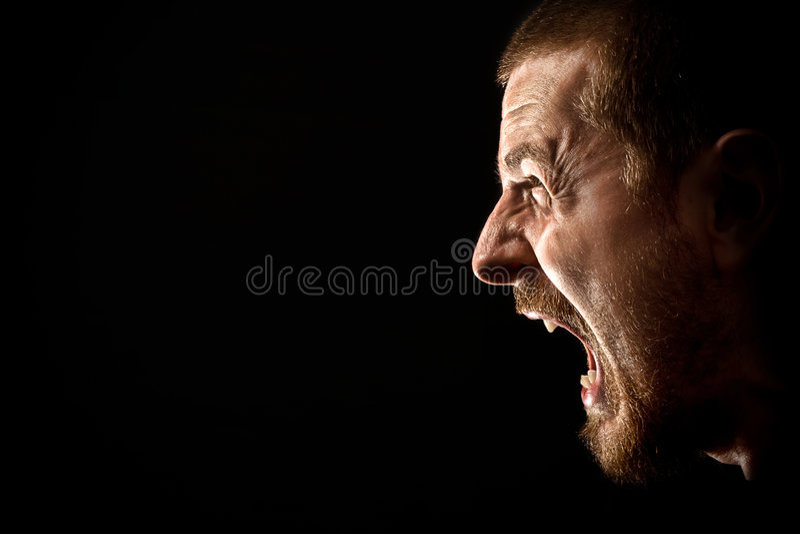Woede - schreeuw van de boze mens royalty-vrije stock foto's