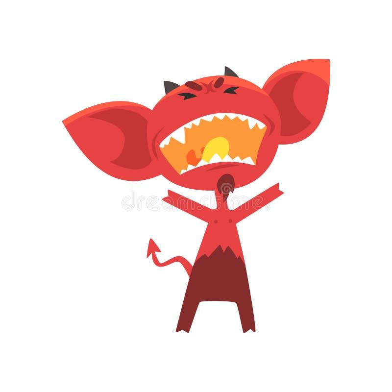 Woedende rode duivel met hoornen, afluisteraar en staart Fictief karakter van hel in vlakke stijl royalty-vrije illustratie