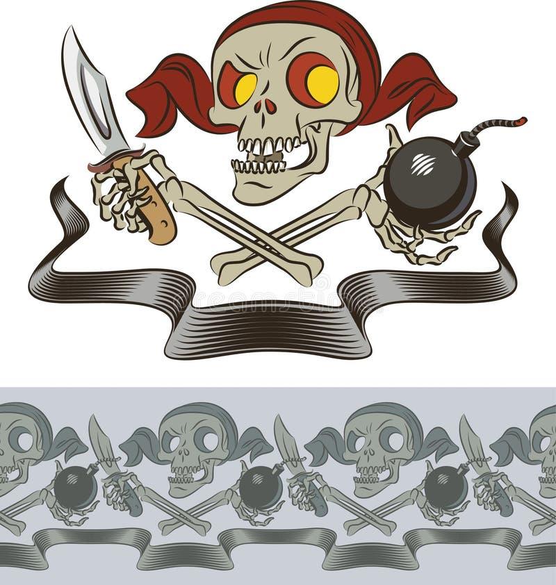 Woedende schedel van piraat stock illustratie