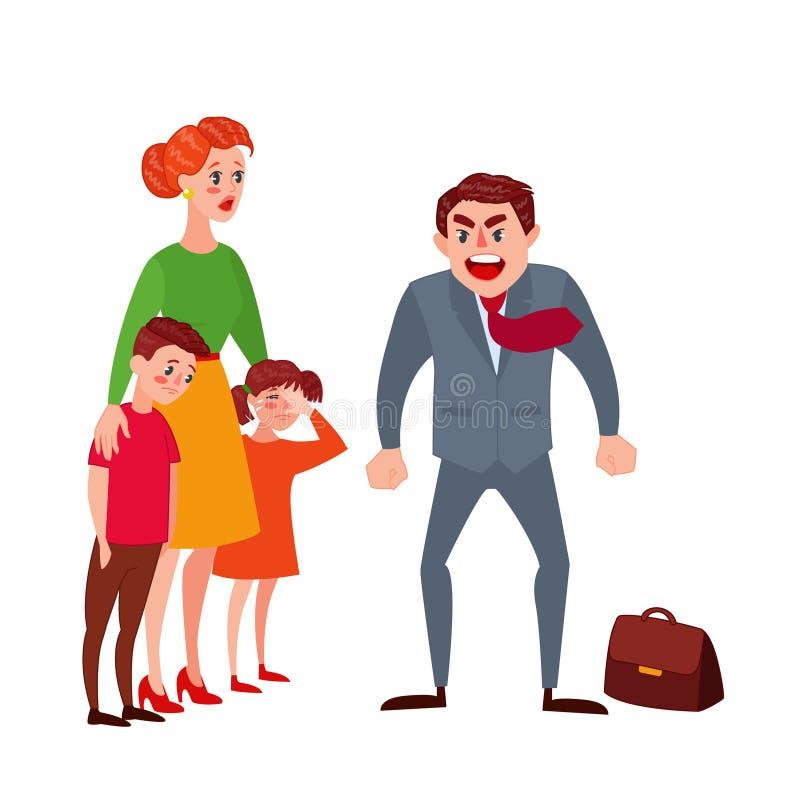 Woedende Vader Yelling bij zijn Vrouw en Jonge geitjes De Ouderskwesties van de familieruzie Boze Mens die op Kinderen schreeuwen stock illustratie