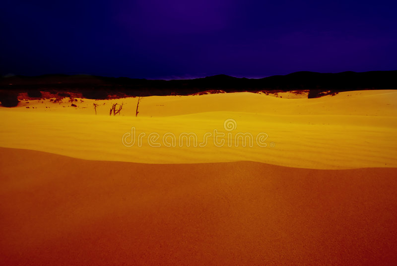 Woestijn bij nacht royalty-vrije stock foto