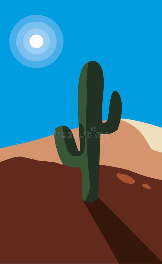 Woestijn droog met de scène van het cactuslandschap stock illustratie