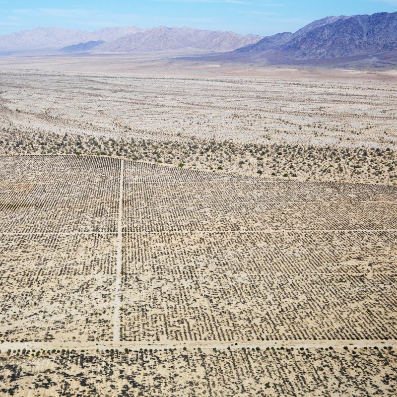 Woestijn en bergketen. stock afbeelding