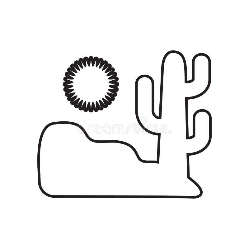 woestijn en cactuspictogram Element van Landschap voor mobiel concept en webtoepassingenpictogram Overzicht, dun lijnpictogram vo stock illustratie