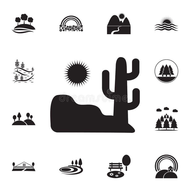 woestijn en cactuspictogram Gedetailleerde reeks landschappenpictogrammen Premie grafisch ontwerp Één van de inzamelingspictogram royalty-vrije illustratie