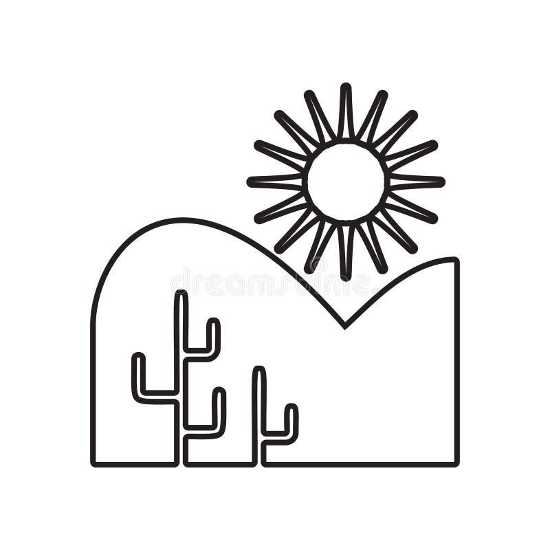 woestijn en cactussenpictogram Element van Landschap voor mobiel concept en webtoepassingenpictogram Overzicht, dun lijnpictogram stock illustratie