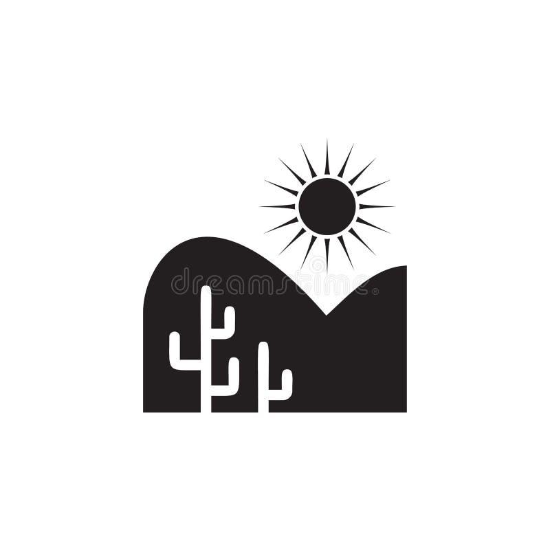 woestijn en cactussenpictogram Element van landschapsillustratie Grafisch het ontwerppictogram van de premiekwaliteit Tekens en s vector illustratie