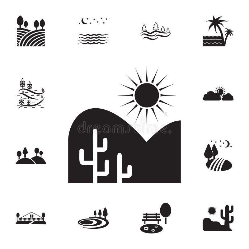 woestijn en cactussenpictogram Gedetailleerde reeks landschappenpictogrammen Premie grafisch ontwerp Één van de inzamelingspictog royalty-vrije illustratie