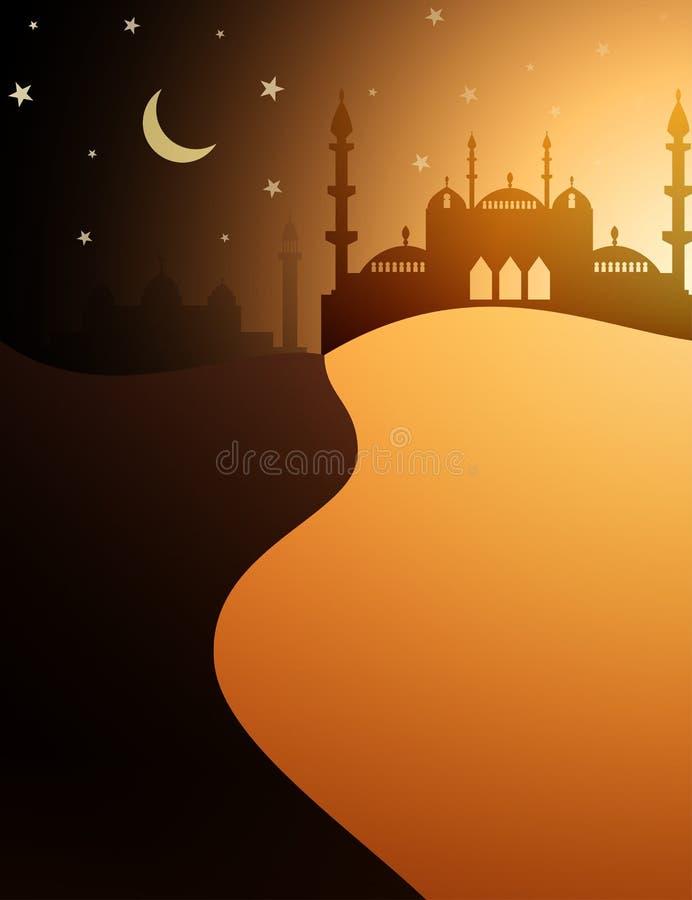 Woestijn en moskee Islamitische achtergrond stock illustratie