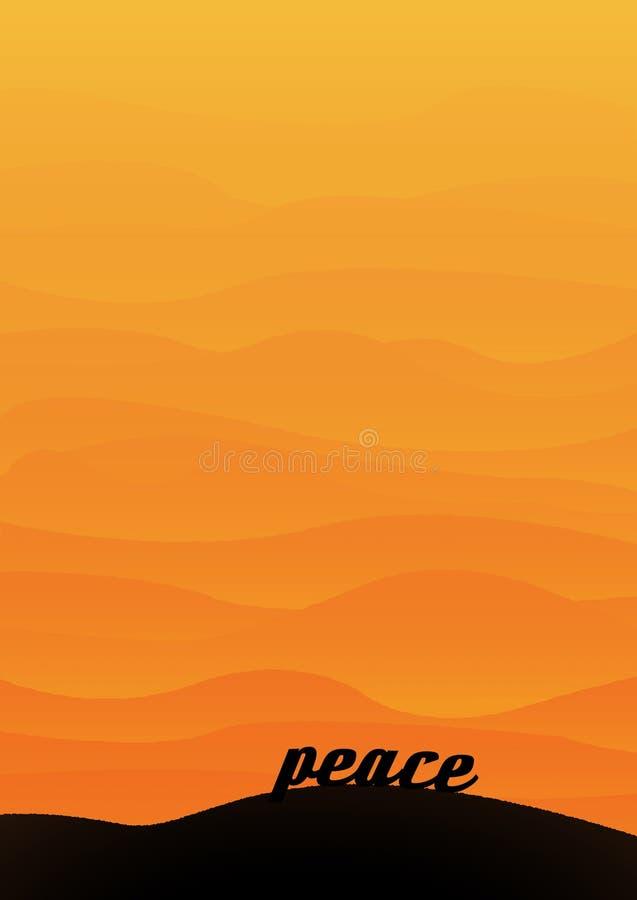 Woestijn landcape bij zonsondergang met gelaagde heuvels en de woordvrede in de voorgrond stock foto's