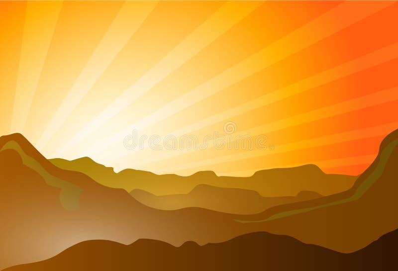 Woestijn met duinen en bergen royalty-vrije illustratie