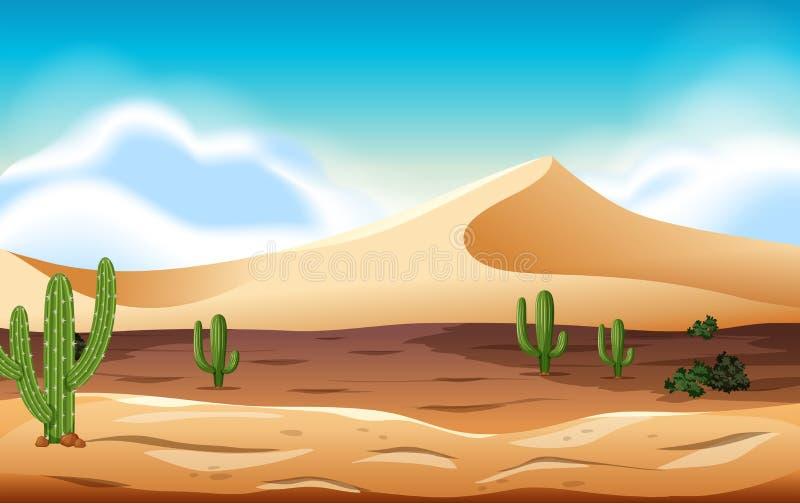 Woestijn met duinen en cactus royalty-vrije illustratie