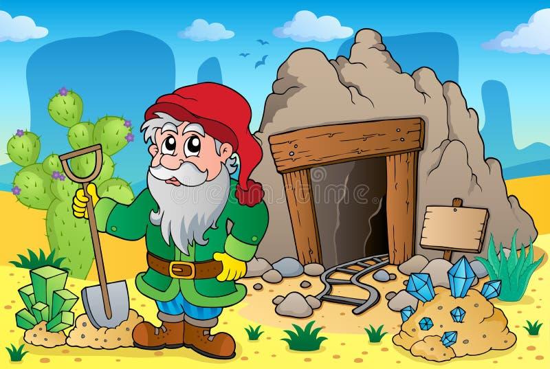 Woestijn met oud mijnthema 5 stock illustratie