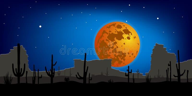 Woestijn met Saguaro-Cactus tegen maan De scène van de nacht Vector vector illustratie