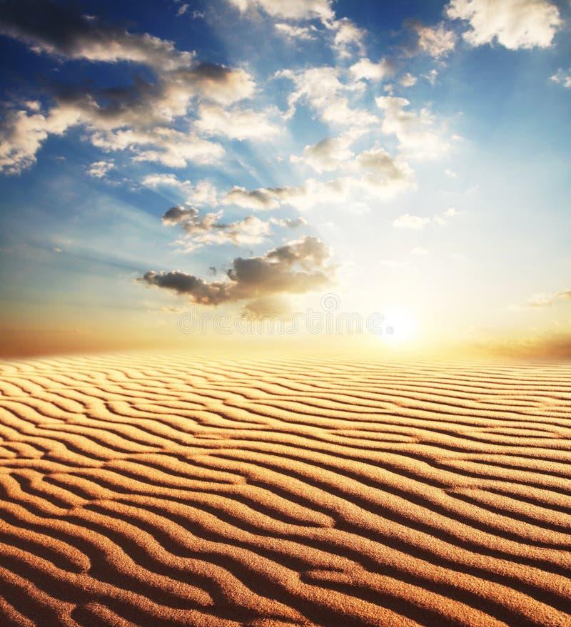 Woestijn op zonsondergang stock fotografie