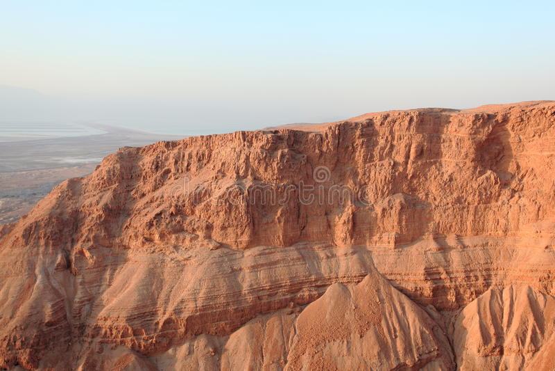 Woestijn van Judah & Dode Overzees van Masada stock foto's