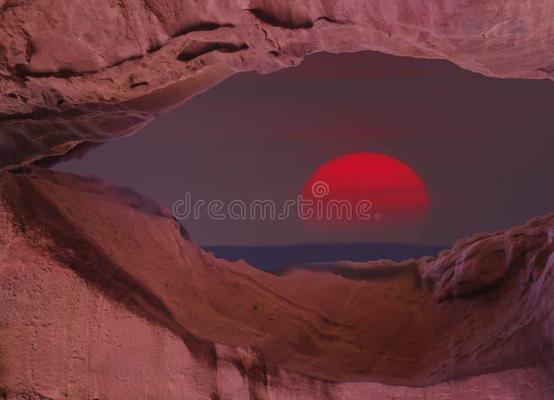 Woestijn van Negev bij de zonsondergang, Israël stock afbeelding