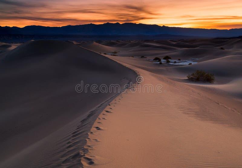 Woestijn in Vlakke Mesquite, het Nationale Park van de Doodsvallei, de V.S. stock fotografie