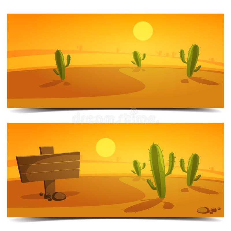 Woestijnbanners stock illustratie