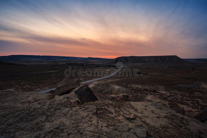 Woestijnlandschap in Bardenas Reales van Navarra, Spanje royalty-vrije stock foto