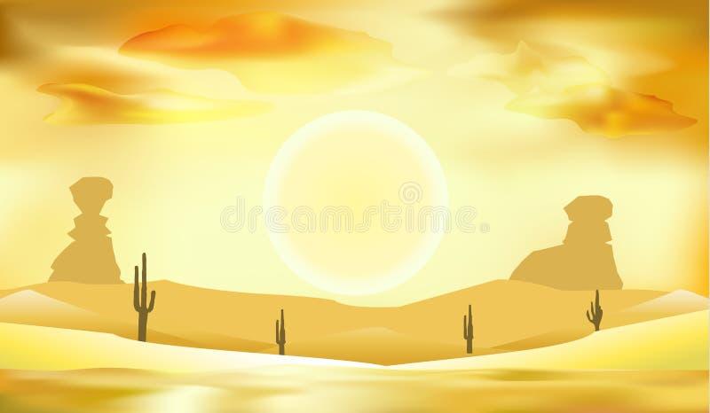 Woestijnlandschap, duinen en zon vectorillustratie als achtergrond royalty-vrije illustratie