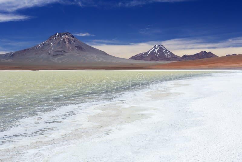 Woestijnmeer Laguna Lejia, Altiplano, Chili royalty-vrije stock fotografie