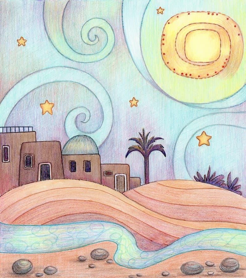 Woestijnnacht Stock Illustratie