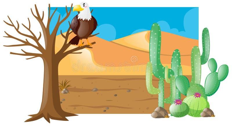 Woestijnscène met adelaar op boom royalty-vrije illustratie