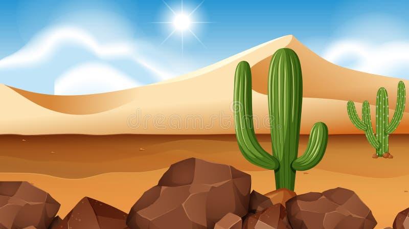 Woestijnscène met cactus royalty-vrije illustratie