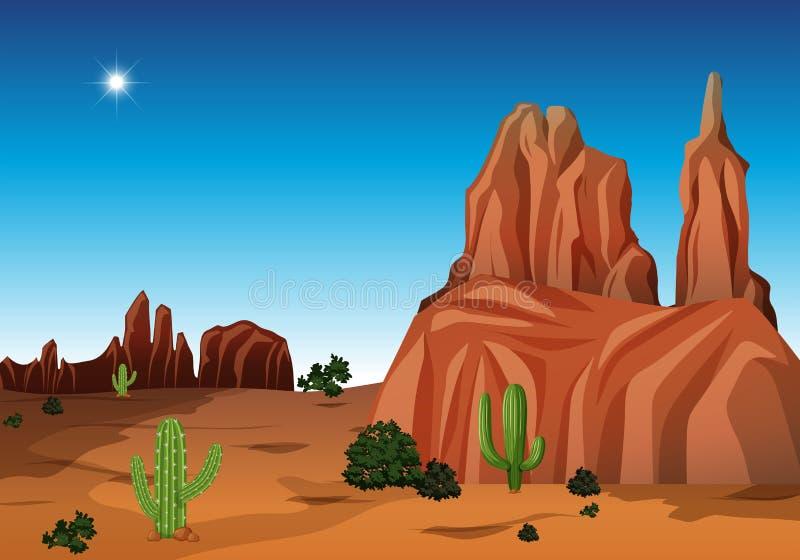 Woestijnscène met canion en cactus royalty-vrije illustratie