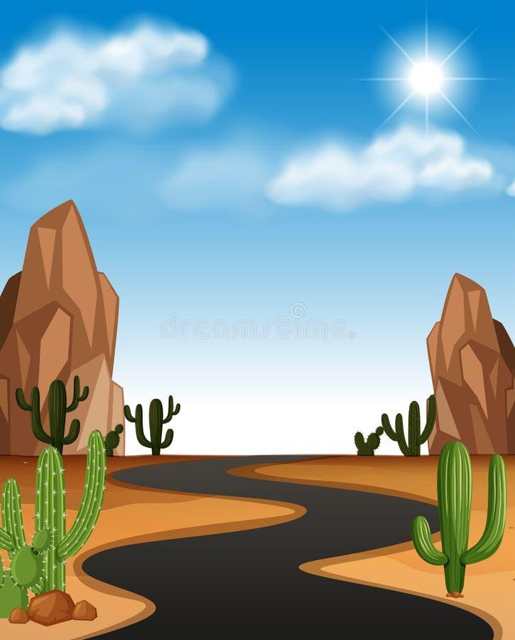 Woestijnscène met weg en cactus stock illustratie