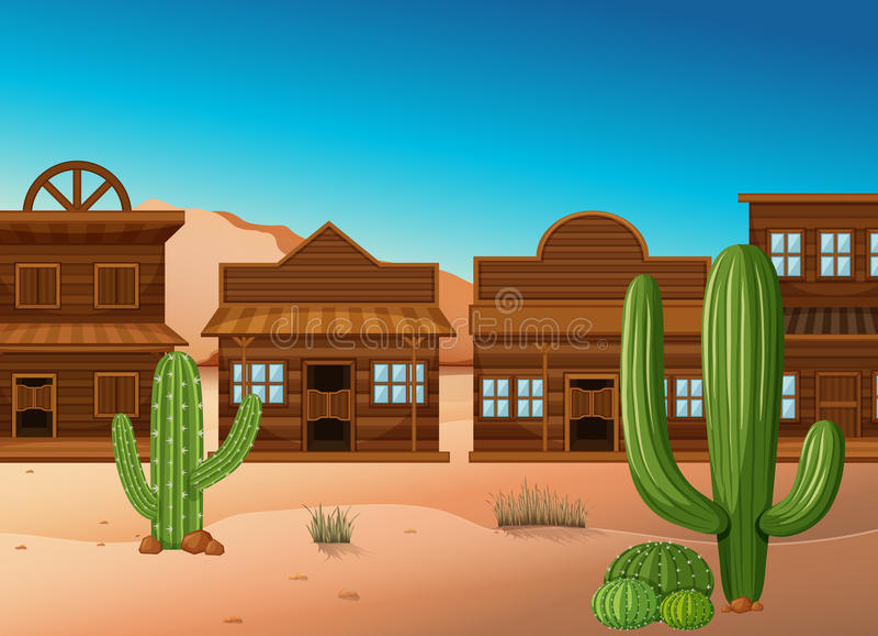 Woestijnscène met winkels en cactus stock illustratie